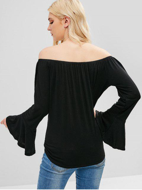 T-shirt Boutonné Noué à Epaule Dénudée - Noir M Mobile