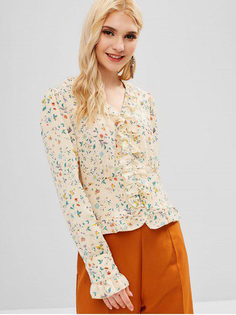 ladies Ruffles Floral Button Up Blouse - MULTI M Mobile