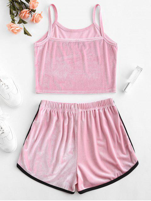 online ZAFUL Velvet Embroidered Top And Shorts Set - PINK M Mobile