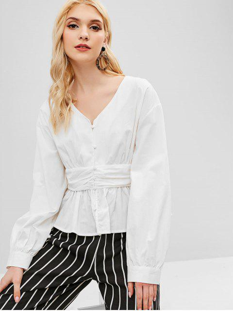 lady Button Up Skirted Blouse - WHITE M Mobile