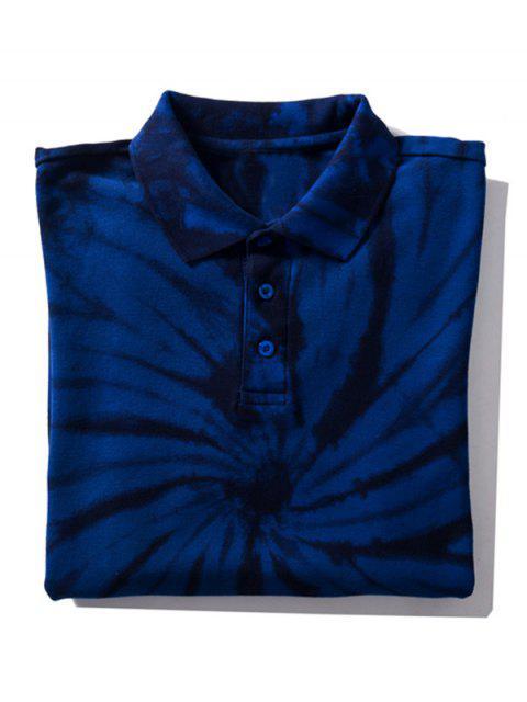 Camiseta con cuello de gafa teñida anudada - Azul Profundo M Mobile