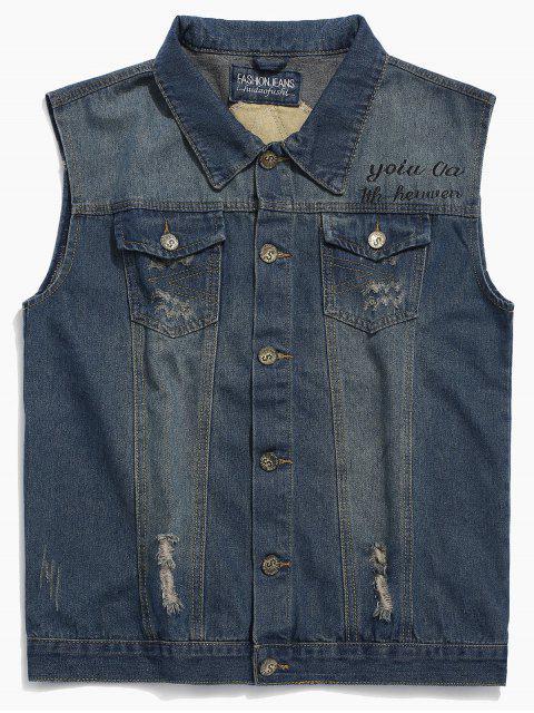 fashion Letters Print Ripped Denim Vest - DENIM BLUE 2XL Mobile