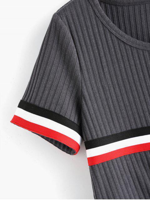 shop ZAFUL Contrast Striped Knot Crop Tee - BATTLESHIP GRAY L Mobile
