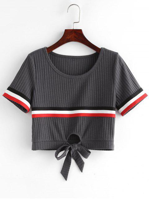 hot ZAFUL Contrast Striped Knot Crop Tee - BATTLESHIP GRAY XL Mobile