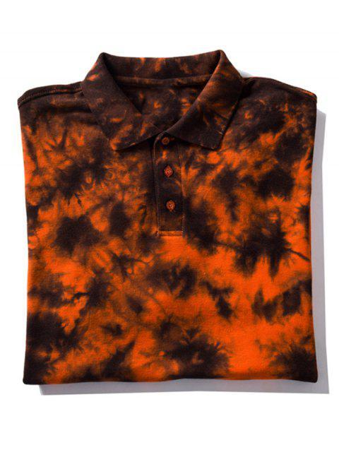 Camiseta de cuello con efecto de teñido anudado - Naranja L Mobile