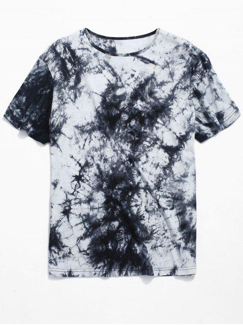 Camiseta de manga corta con estampado de tinta estampada. - Negro S Mobile