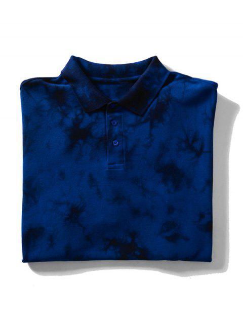 Camiseta de cuello con efecto de teñido anudado - Azul Profundo M Mobile