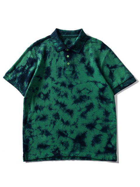 Camiseta de cuello con efecto de teñido anudado - Verde de Pino  M Mobile
