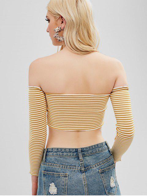 sale Off Shoulder Striped Cinched Crop Tee - GOLDENROD ONE SIZE Mobile