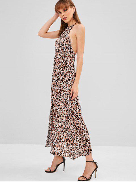 unique Halter Slit Leopard Backless Dress - LEOPARD L Mobile