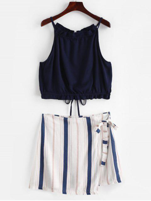 shops ZAFUL Contrast Stripes Top And Skirt Set - MULTI S Mobile