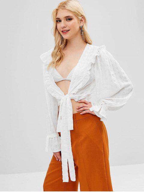 sale Ruffles Tie Front Blouse - WHITE L Mobile