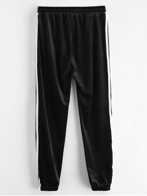 buy Sporty Velvet Joggers Sweat Pants - BLACK L Mobile