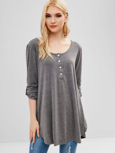 4f4bbba278af75 Buttoned Three Quarter Sleeves Plain Tee - Gray S