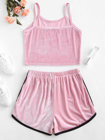 bd2b89e9c7 ... ZAFUL Velvet Embroidered Top And Shorts Set - Pink S