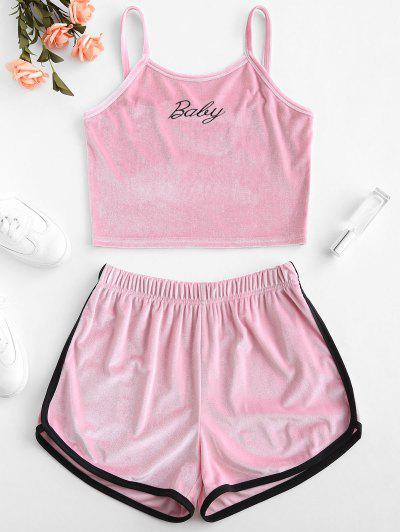 0d8229b792999 ZAFUL Velvet Embroidered Top And Shorts Set - Pink S ...