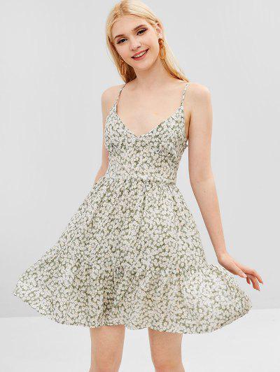 3dd60366782 ZAFUL Smocked Back Tiny Floral Cami Dress - Pale Blue Lily S