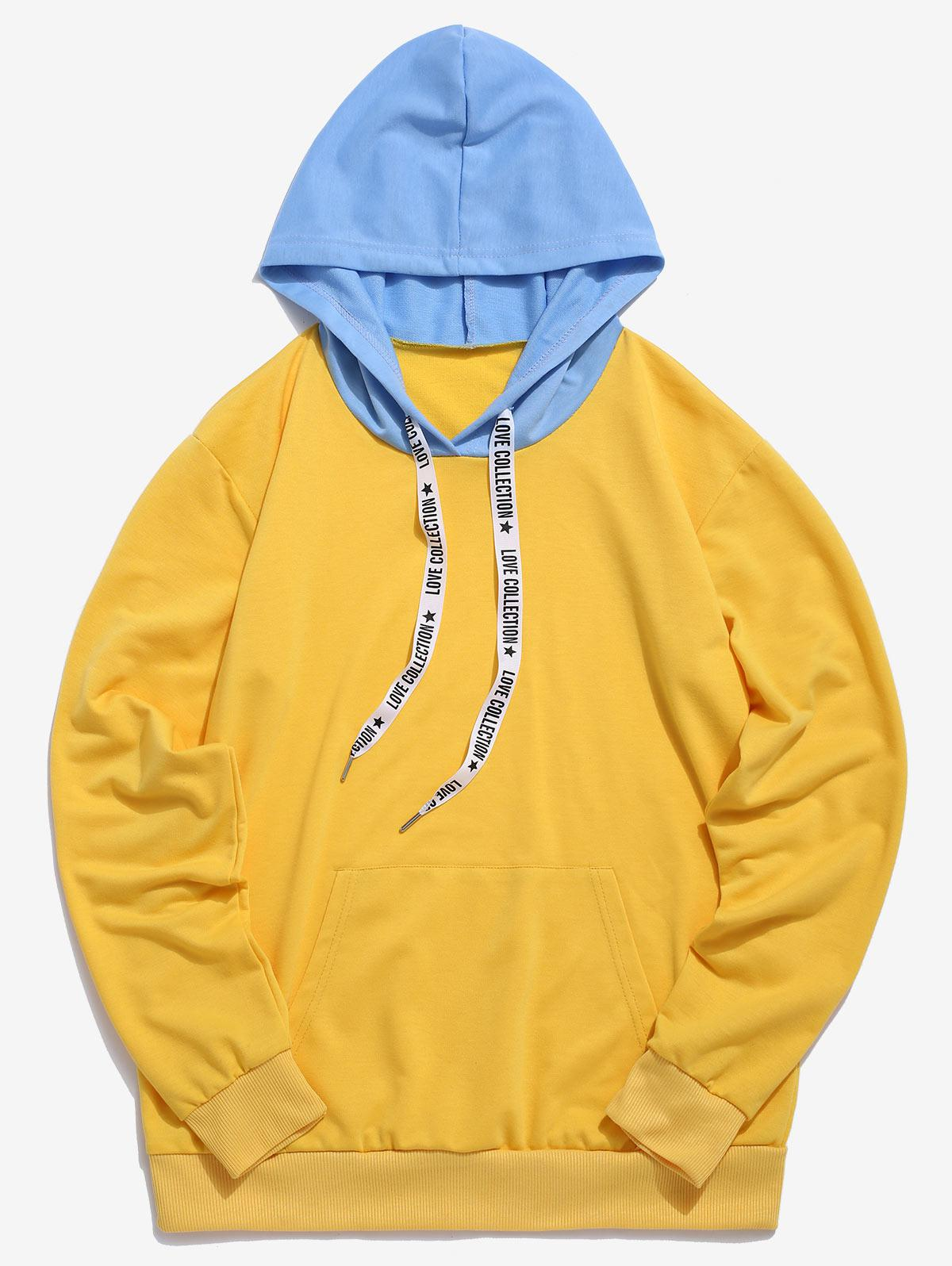 ZAFUL Kangaroo Pocket Letter Printed Drawstring Hoodie, Bright yellow