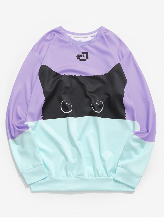 Color Block Cat Print Sweatshirt - متوسطة الأرجواني XL