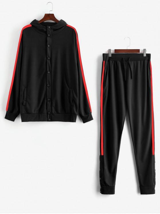 ladies Side Stripe Snap Button Hoodie Jogger Pants Suit - BLACK S
