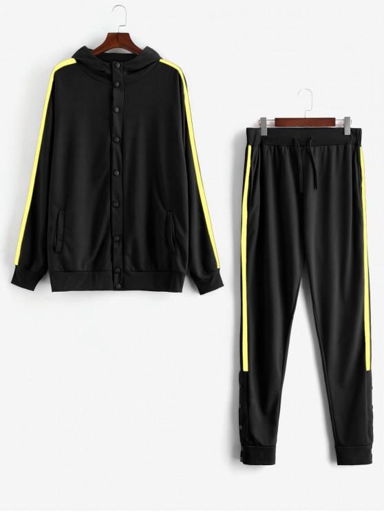 outfit Side Stripe Snap Button Hoodie Jogger Pants Suit - YELLOW L