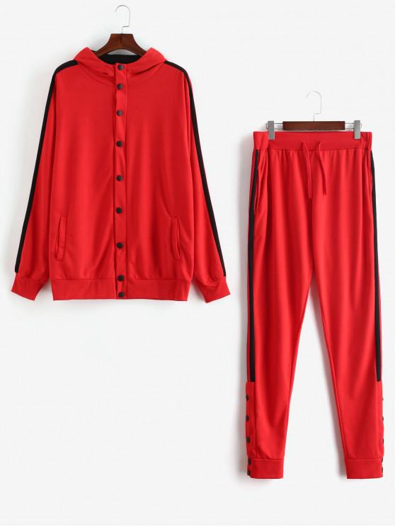 latest Side Stripe Snap Button Hoodie Jogger Pants Suit - RED L