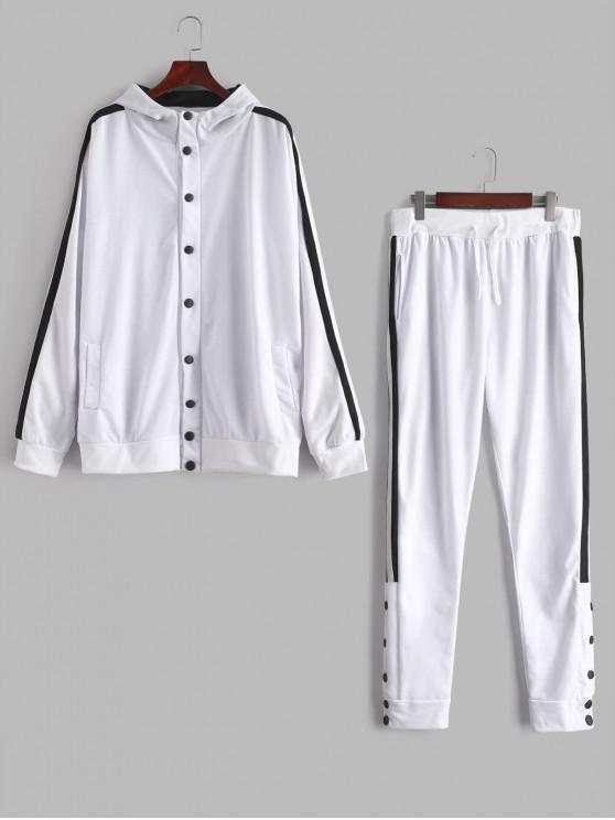 fancy Side Stripe Snap Button Hoodie Jogger Pants Suit - WHITE L