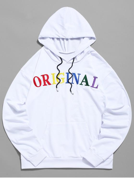 best ZAFUL Letter Embroidered Pocket Drawstring Hoodie - WHITE M
