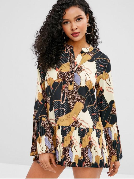 latest Leopard Half Button Pleated Bell Sleeve Dress - MULTI M