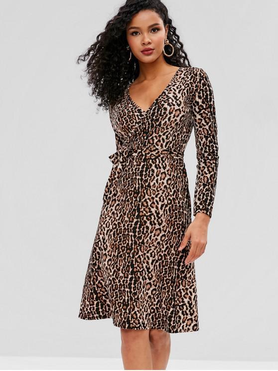 4952a2da7099 Vestito Leopardato Con Cintura E Maniche Lunghe - Leopardo Taglia unica
