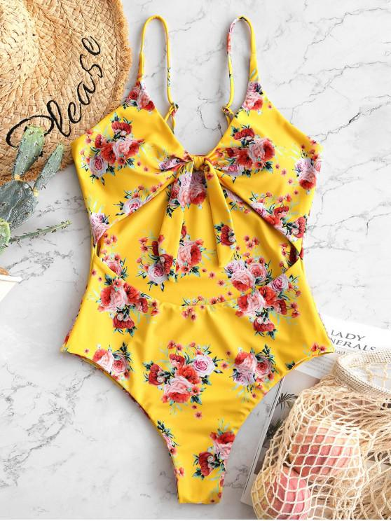 outfits ZAFUL Flower Tied Cut Out Swimsuit - MULTI L
