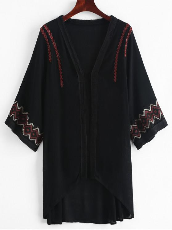 outfit Embroidered Kimono Cover-up - BLACK ONE SIZE