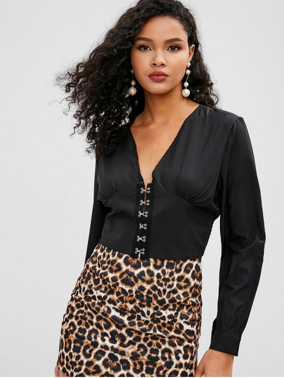 outfits Hook and Eye Crop Top - BLACK S