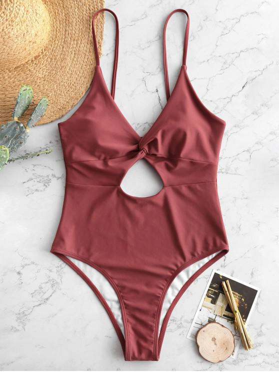 best ZAFUL Twisted Cami Cut Out Swimsuit - CHERRY RED XL