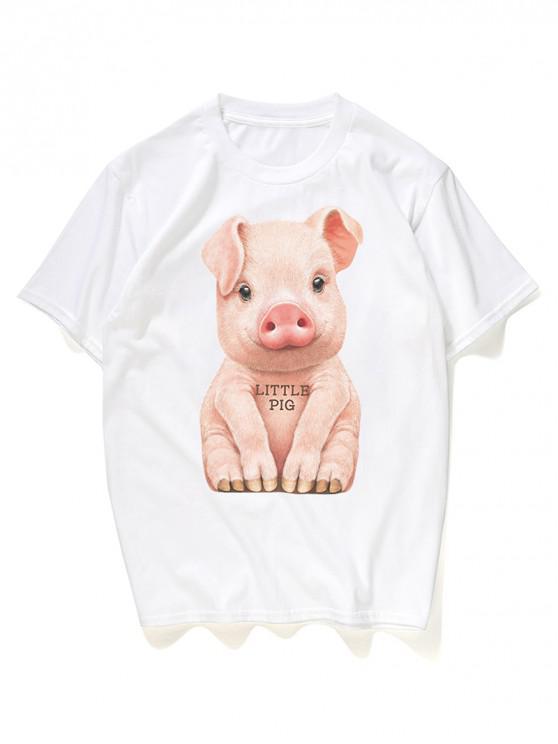 new Cute Little Pig Print Graphic Tee - WHITE M