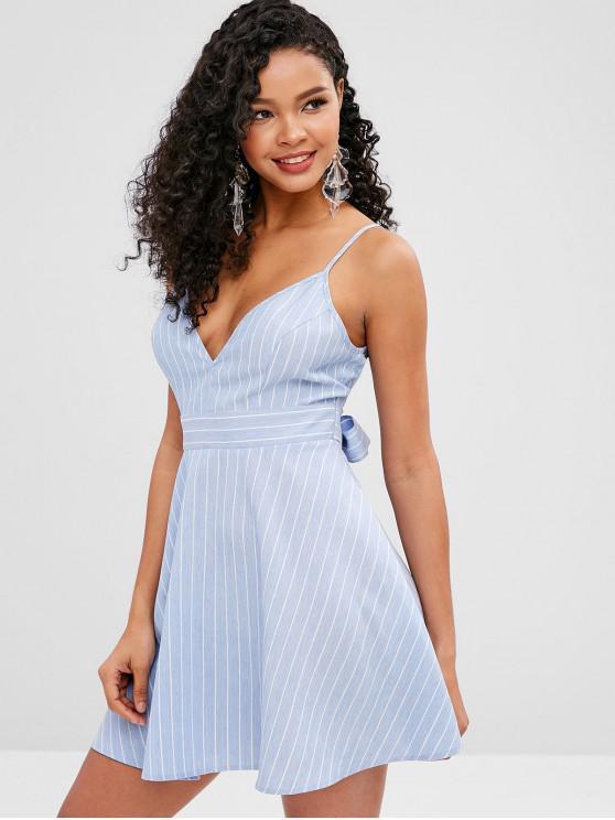 fashion ZAFUL Knotted Striped Cami A Line Dress - LIGHT SKY BLUE L