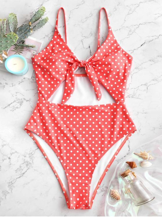 hot ZAFUL Cutout Knot Polka Dot Swimsuit - BEAN RED L