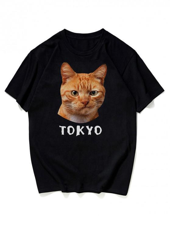 T-Shirt Grafica A Gatto - Nero 3XL