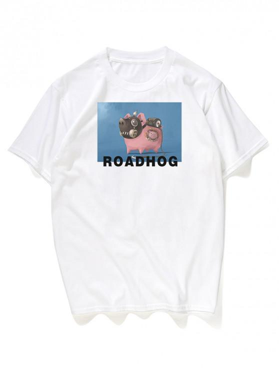 outfit Cartoon Hog Print Graphic Tee - WHITE 3XL