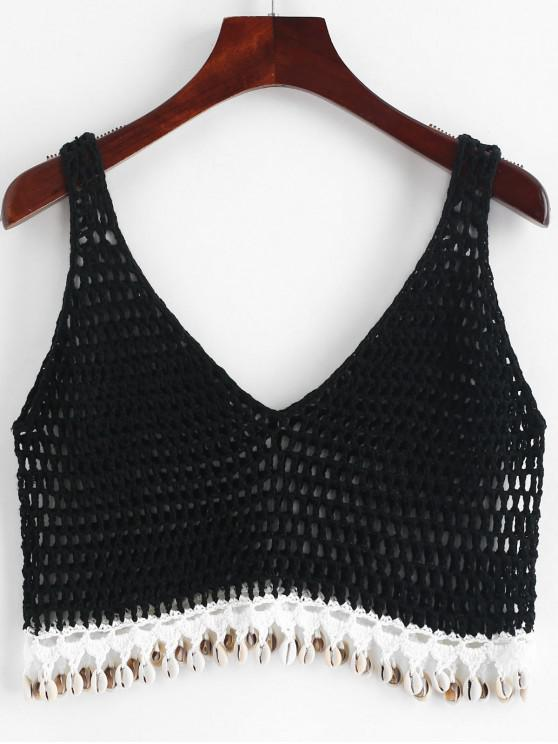 outfit Shells Crochet Tank Top - BLACK ONE SIZE