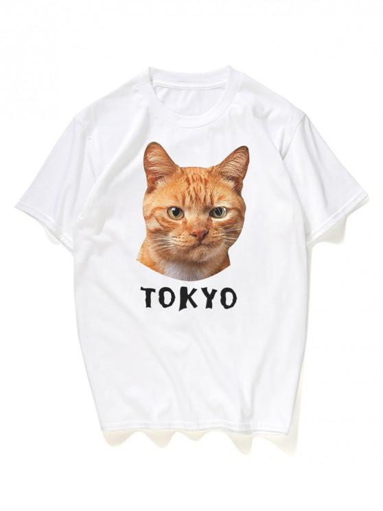 T-Shirt Grafica A Gatto - Bianca 3XL