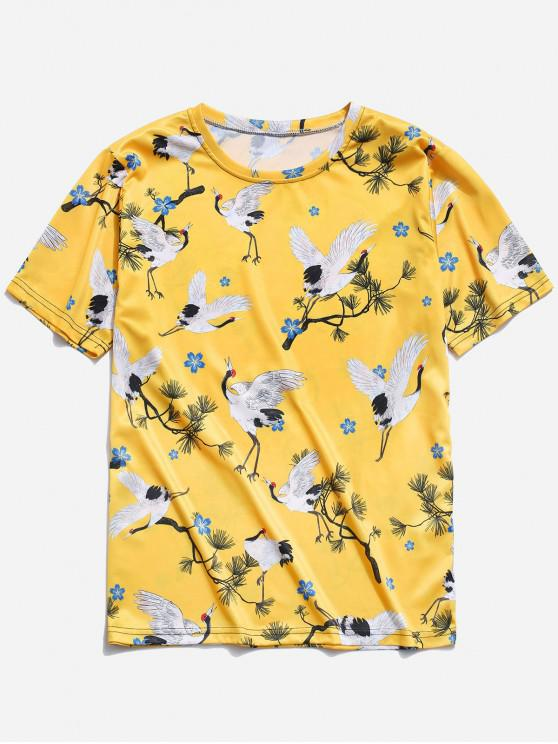 sale Cranes Print T-shirt - YELLOW XL
