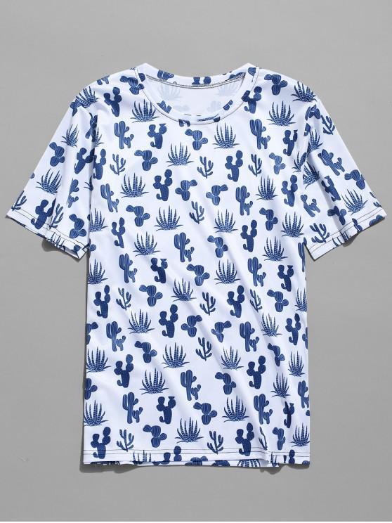 Kurzärmliges T-Shirt mit Kaktus-Print - Multi-B XL