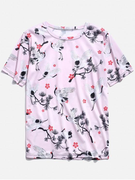 chic Cranes Print T-shirt - PIG PINK 4XL