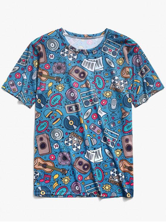 T-Shirt Con Stampa Elementi Musicali - Multi Colori-K XL