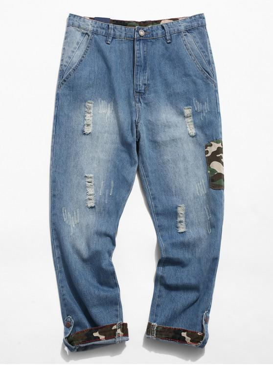 trendy Ripped Camo Patchwork Jeans - BLUE GRAY 32