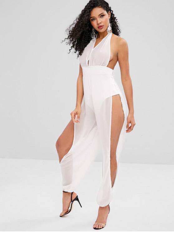 womens Halter Backless Split Chiffon Jumpsuit - WHITE M