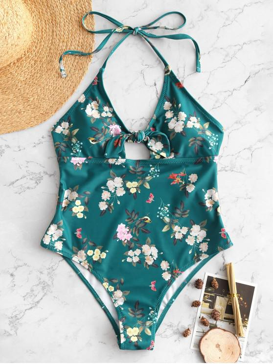shops ZAFUL Flower Tied Halter Backless Swimsuit - MULTI S