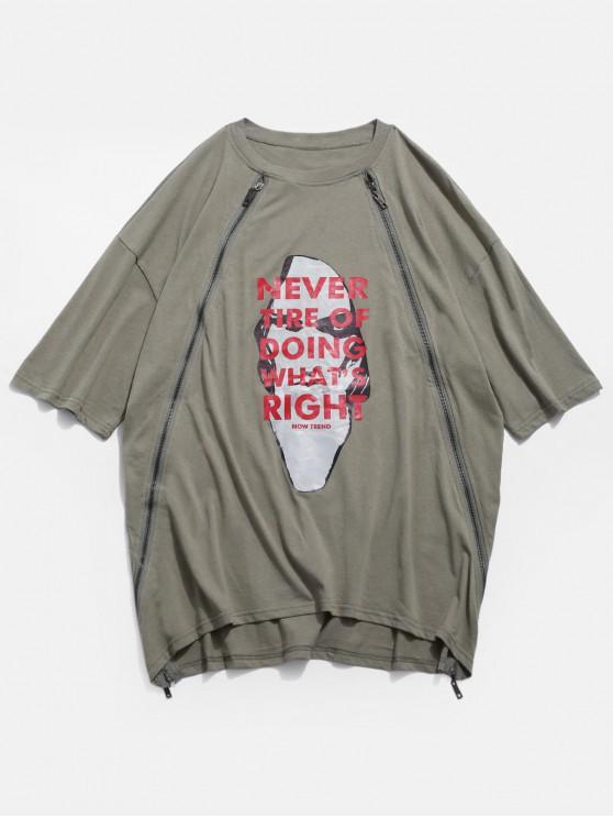 T-shirt grafica patchwork Zipper - verde  S