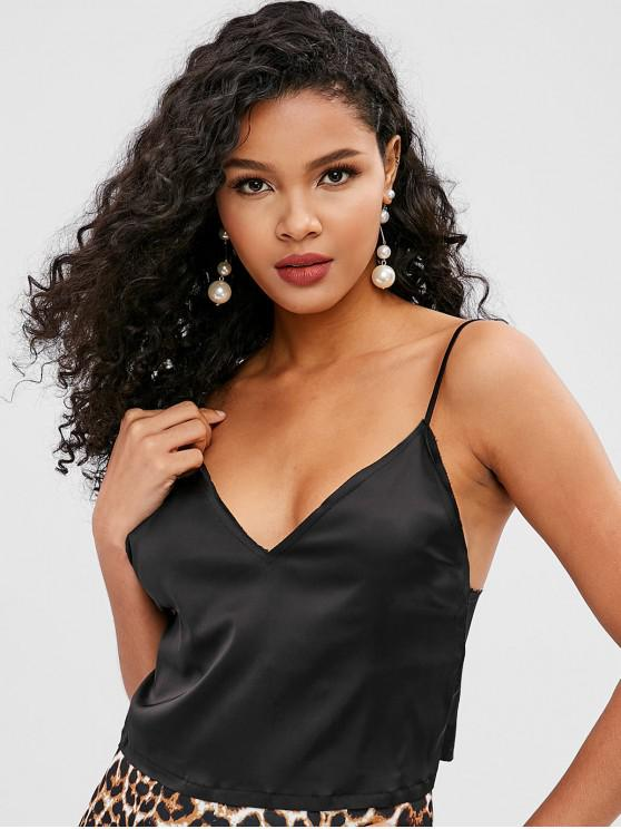 new Crop Satin Cami Top - BLACK ONE SIZE